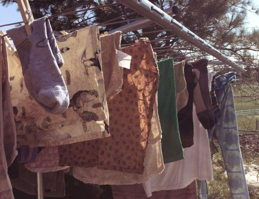 Laundry hanging on clothesline