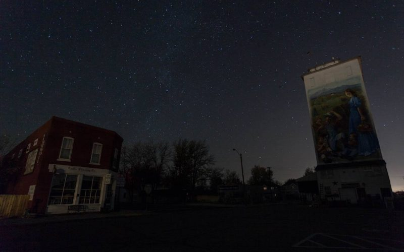 Stars over the town of Berthoud at night